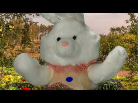 Animated Plush Easter Bunnies in Field of Clover Singing