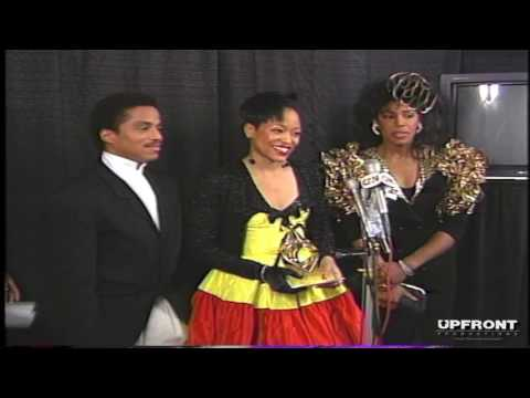 Miki Howard w Marlon Jackson & Dawnn Lewis as she wins Best New Artist by filmmaker Keith O'Derek