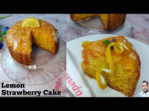 Lemon Strawberry Cake Recipe | Easy Cake Without Oven | How to make Spongy lemon Strawberry cake