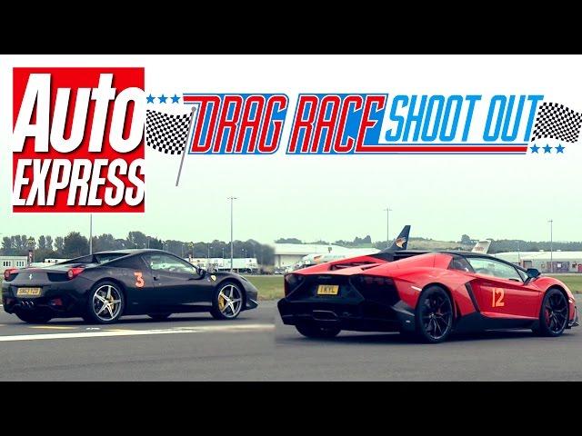 Lamborghini Aventador Roadster vs Ferrari 458 Spider drag race ...