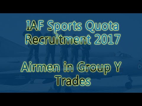 IAF Sports Quota Recruitment 2017 Airmen in Group Y Trades