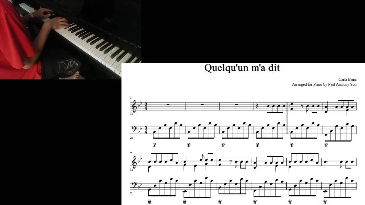 carla bruni quelquun ma dit for piano with sheet music