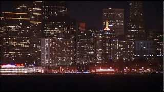 Container ship at night in the San Francisco Bay