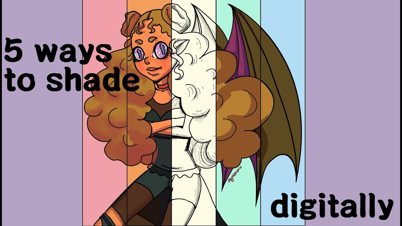 5 ways to shade in digital art help build your art style youtube