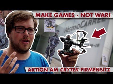 "MAKE GAMES - NOT WAR! - Protestaktion am ""Crytek""-Firmensitz in Frankfurt"