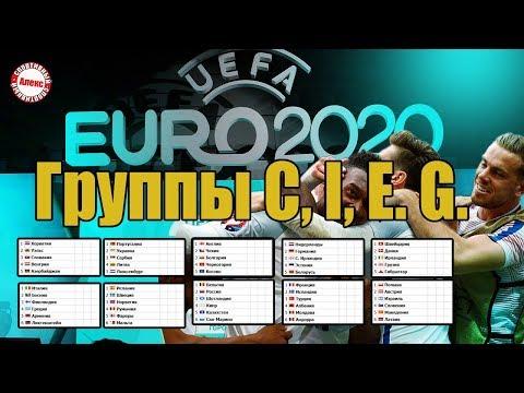 Чемпионат Европы по футболу 2020. Группы C, I, G, E. Расписание. Таблицы.  Шотландия - Россия.