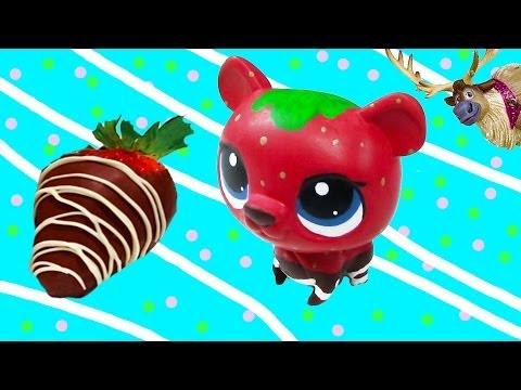 LPS Custom Bear Chocolate Dipped Strawberry DIY Littlest Pet Shop Disney Frozen Sven Olaf