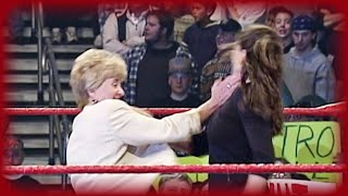 Linda McMahon slaps her daughter Stephanie: RAW IS WAR, Apr. 17, 2000