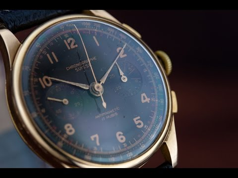 Chronographe Suisse 18K Landeron mechanical wristwatch