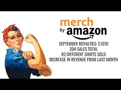 Merch by Amazon Royalties for September $1070 at Tier 1000 with 630 Designs Live
