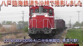 八戸臨海鉄道を沿線で撮影しました(DD16-303、DD56-4)