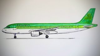 AIRBUS A320, Aer lingus, Drawing timelapse