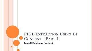 SAP BW : FI استخراج جزء 1 - تثبيت ثنائية المحتوى