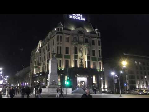 Hotel Moskva, one of the most recognizable Belgrade landmarks , at night