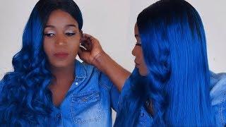 BLUE HAIR ON DARK SKIN MELANIN POPPING   EVA WIGS
