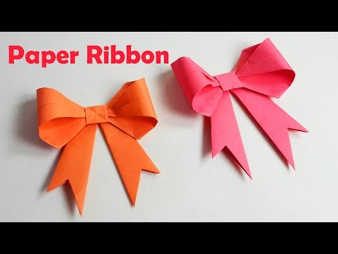 How to make paper Ribbon - How to fold a paper Bow - Easy origami Bow/Ribbons  - Origami Crafts