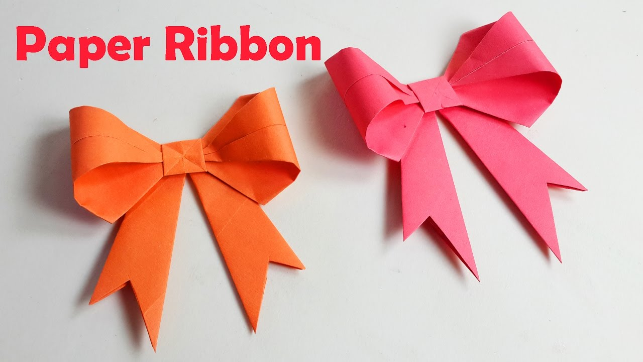 How To Make Paper Ribbon How To Fold A Paper Bow Easy Origami