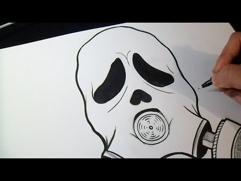 Comment dessiner masque anti gaz crier graffiti youtube - Masque a dessiner ...