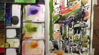 Watercolor Cafe Painting in Paris France-by Chris Petri