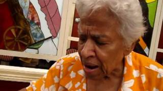 Leah Chase explains the buffet for Adonicia's birthday dinner