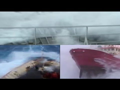 Compilation During Storm Ship in Big Waves Bad Weather