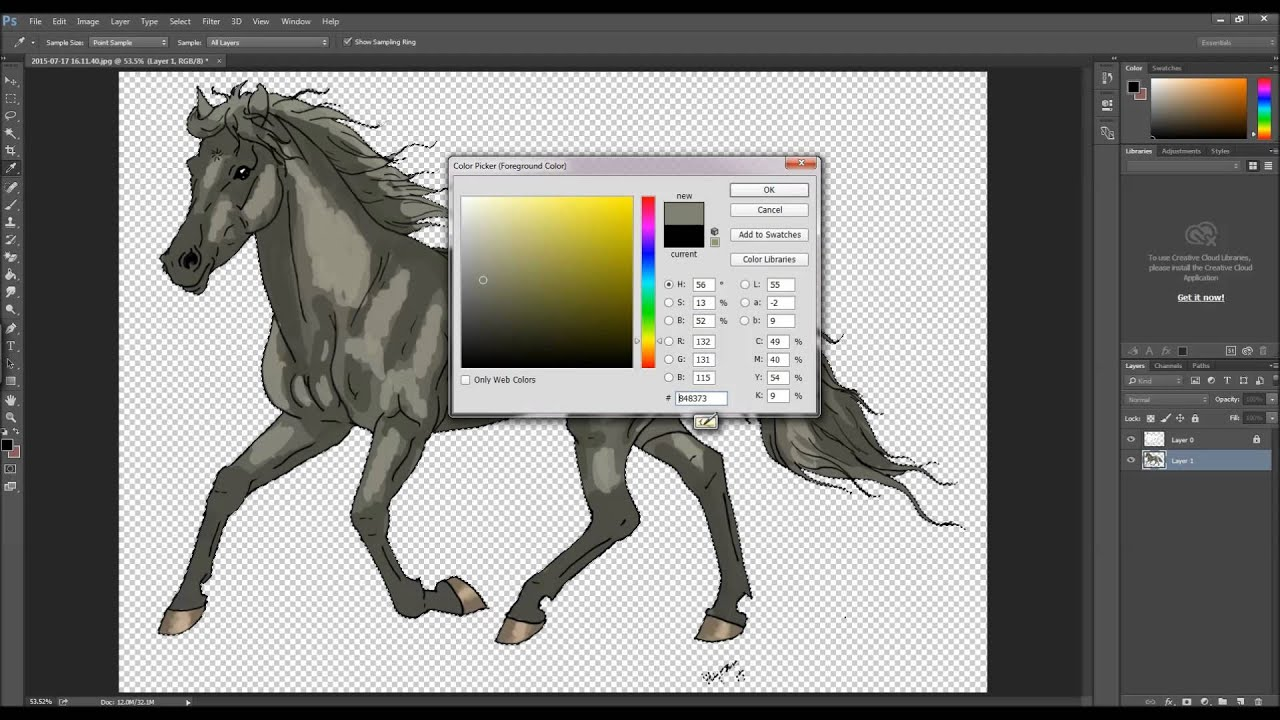 how to colour in photoshop gray horse youtube