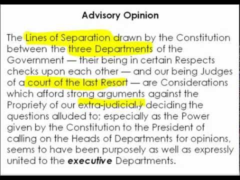 Constitutional Law -- Advisory Opinions