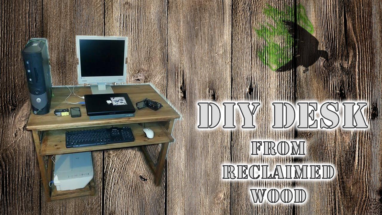 Pallet computer desk pallet office desk diy computer desk diy wooden - Practical Computer Desk Reclaimed Wood Diy