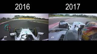 [HD] F1 2016 vs 2017 Onboard comparison Hamilton Mercedes in Malaysia