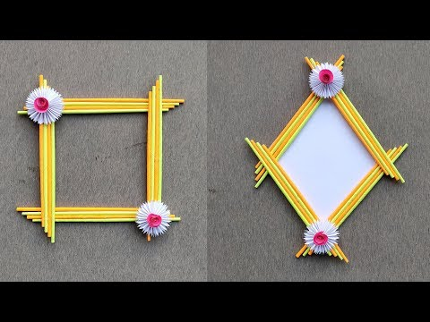 DIY Easy Photo Frame Tutorial //Paper Photo Frame Craft Made With Color Paper