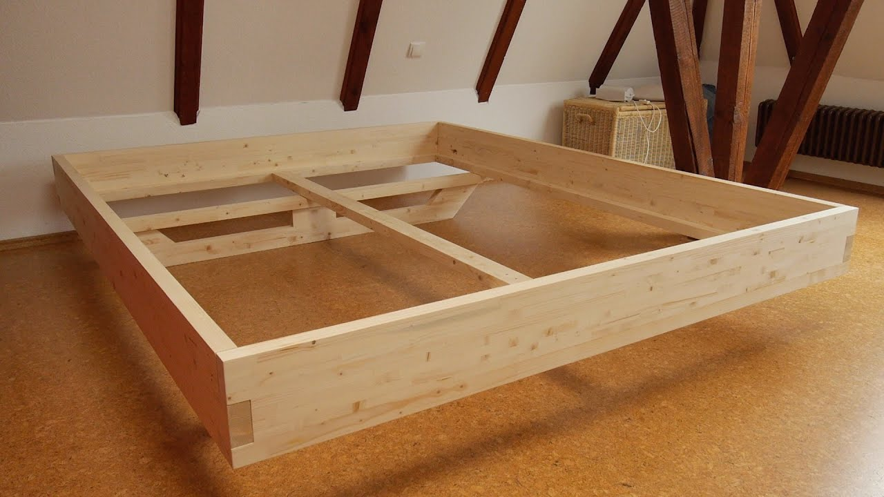 Massivholzbett  DIY Massivholz-Bett selber bauen - YouTube