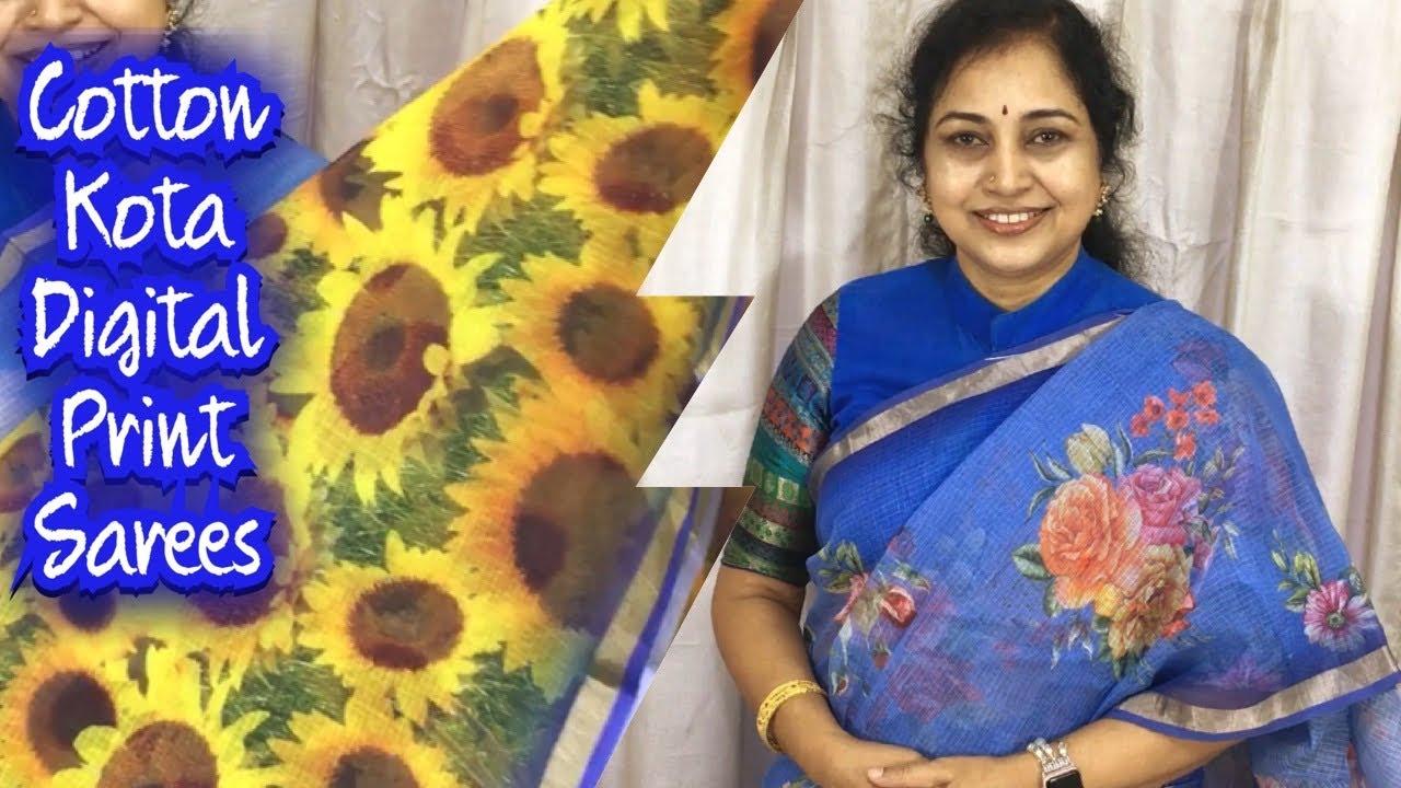 Cotton kota digital print sarees, Surekha Selections,Vijayawada,