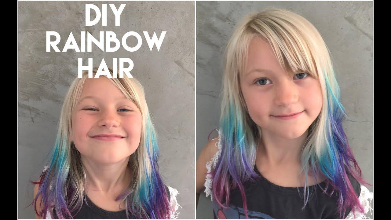 diy ombre hair with rainbow