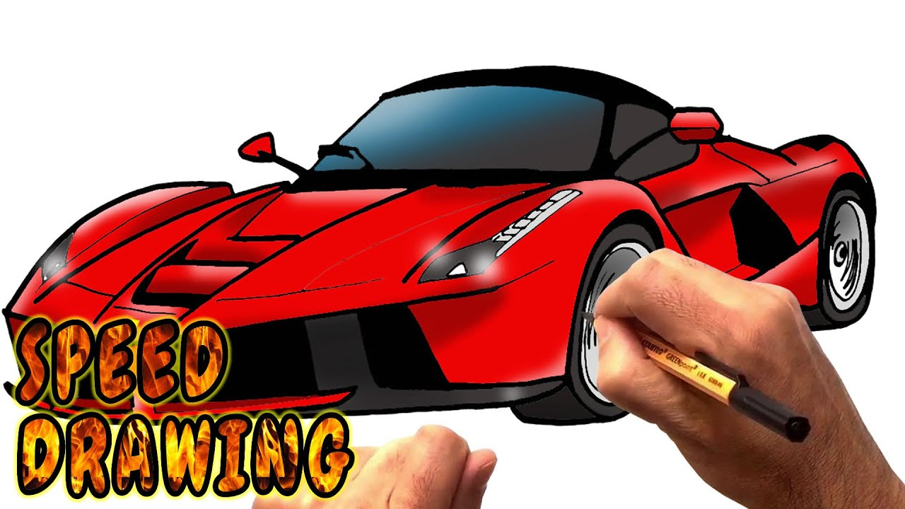 How To Draw Laferrari Supercar Speed Drawing Youtube