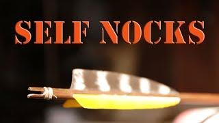Primitive arrow self nocks for cane, bamboo, or wood shafts