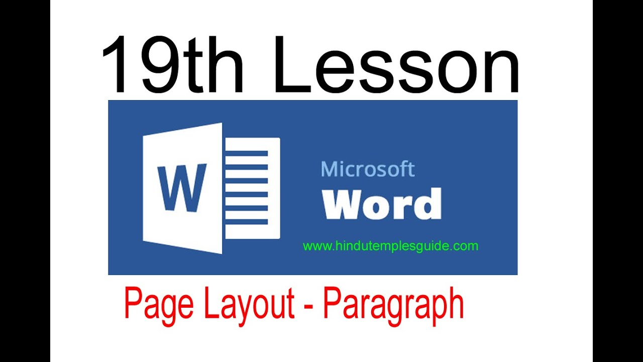 MS Word 19th Lesson Page Layout Tab Paragraph Telugu