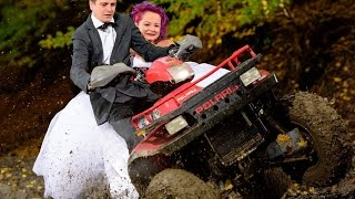 Trashing the wedding dress on an ATV