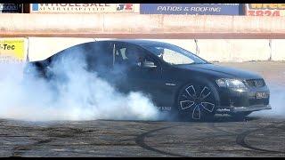 "VE SS V8 Tyre blowing Skid at Talks Cheap Burnouts ""Phatt"" PHA77"