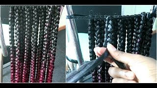 how to    pre braided box braids for individual crochet braids wig    big size    ombre red