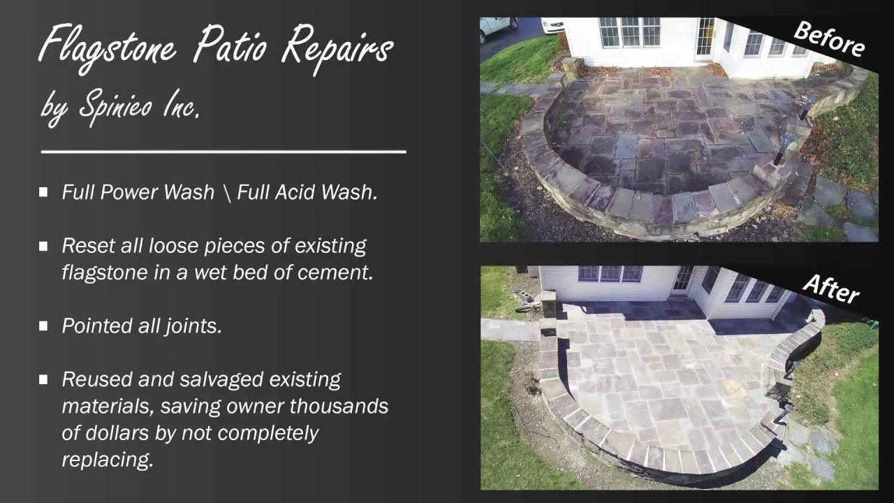 flagstone patio repair before after spinieo inc montgomeryville pa