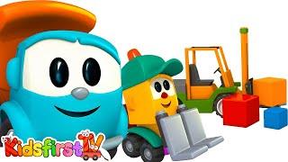 TRUCK Cartoons - Build a LIFTY Forklift - LEO Junior Games & Construction Puzzles!
