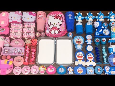 Special Series #36 BLUE DOREAMON and PINK HELLO KITTY !! Mixing Random Things into GLOSSY Slime