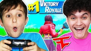 JARVIS GETS 9YR OLD FIRST VICTORY ROYALE!!!! (SEASON 10)