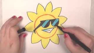 Learn How to Draw a Cool Sun -- iCanHazDraw!