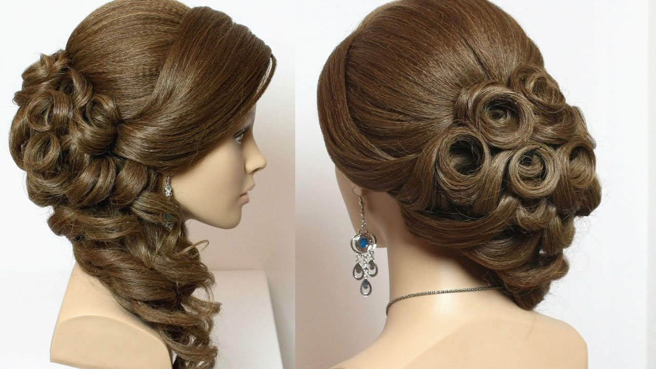 Bridal hairstyle with curls for long hair tutorial - YouTube