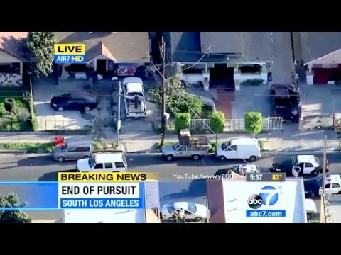 Car Chase Ends In A Shootout on LIVE TV! Los Angeles Police chase #1