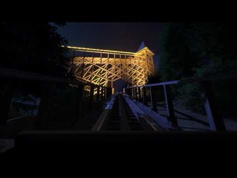 Nightmare - Planet Coaster Wooden Coaster Nighttime POV