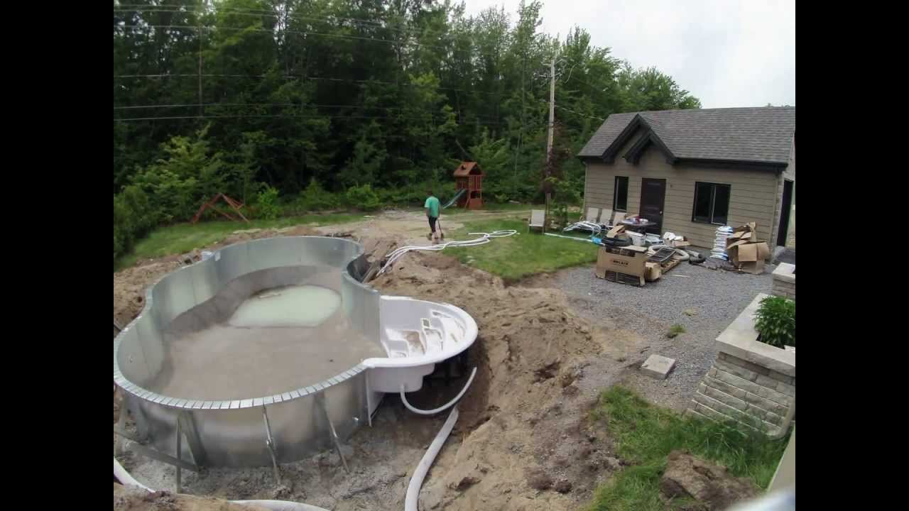 Timelapse construction piscine creus du gazon  la clture  YouTube
