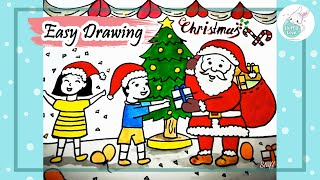 Easy Christmas festival drawing- Kids Receiving Gifts From Santa Claus drawing for kids