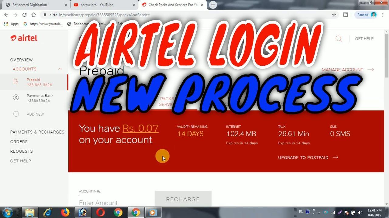 my airtel login airtel login 2019 airtel cashback airtel free  recharge airtel history